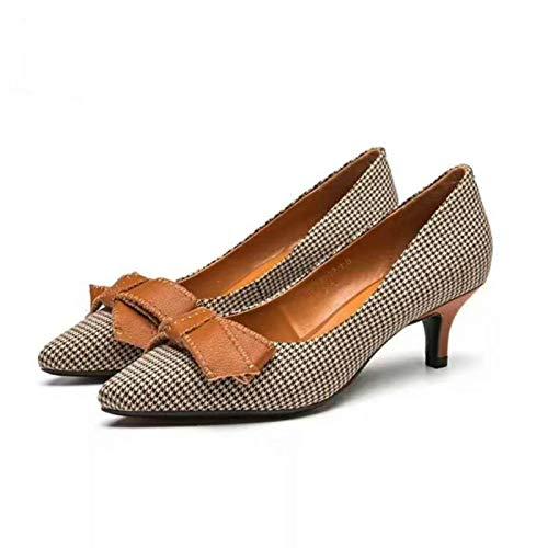De de Zapatos Zapatos Alto Cuero alto Yukun Khaki Zapatos Tacón De La Moda tacón Fina PU Alto De zapatos Tacón Mujer De SwqxA