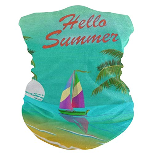 - Hello Summer Palm Tree Ship Bird Headband Womens Bandana Mens Balaclava,Neck Warmer,Face Mask,Neckerchief Wristband