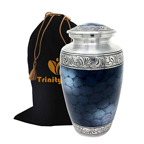 Mediterranean Mystic Blue Cremation Urn - 100% Handcrafted Moonstone Blue Funeral Urn - Large Solid Metal Forever Remembered Classic Blue Urn - Affordable Urn for Human Ashes with Free Velvet Bag