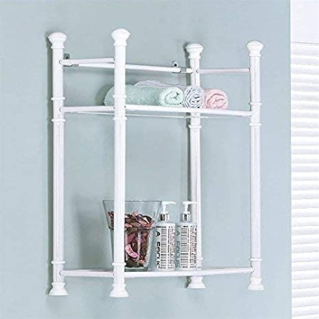 Monarch Specialties White Metal Wall Mount Shelf with Tempered Glass 26-Inch I 3425