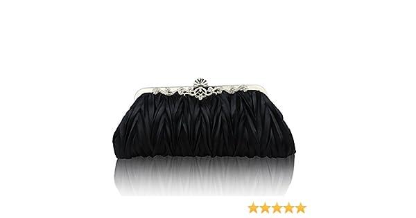 Tinksky Mujeres noche bolso de embrague niñas boda monedero bolsos (negro)