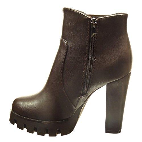 Angkorly - Scarpe da Moda Stivaletti - Scarponcini chelsea boots zeppe donna zip Tacco a blocco tacco alto 11.5 CM - Marrone