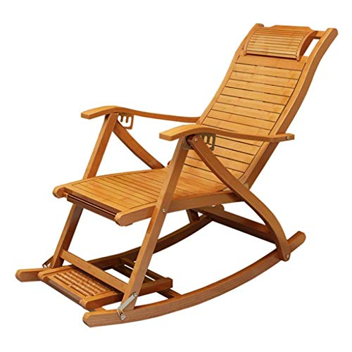 Patio Reclining Chairs,Recliners Bamboo Rocking Chair Adult Folding Chair Home Napping Chair Cool Chairs Old Man Chair Lunch Break Chair (Color : Chair)