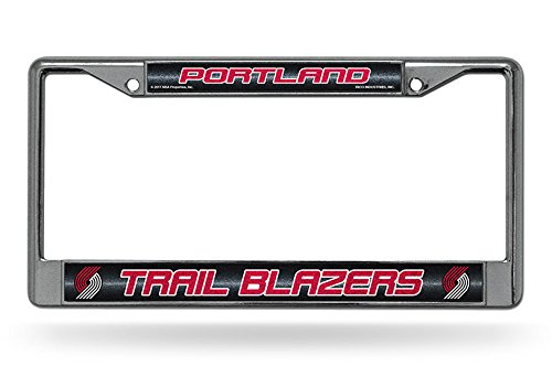 NBA Portland Trail Blazers Bling Chrome License Plate Frame with Glitter Accent