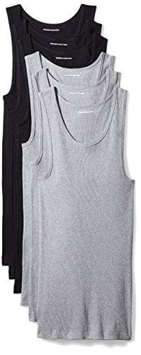 Amazon Essentials Men's 6-Pack Tank Undershirts, Black/Heather Grey, Small
