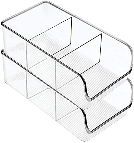419LQ1n15gL. AC mDesign Plastic Food Packet Kitchen Storage Organizer Bin Caddy - Holds Spice Pouches, Dressing Mixes, Hot Chocolate, Tea, Sugar Packets in Pantry, Cabinets or Countertop - 2 Pack - Clear    From the brand