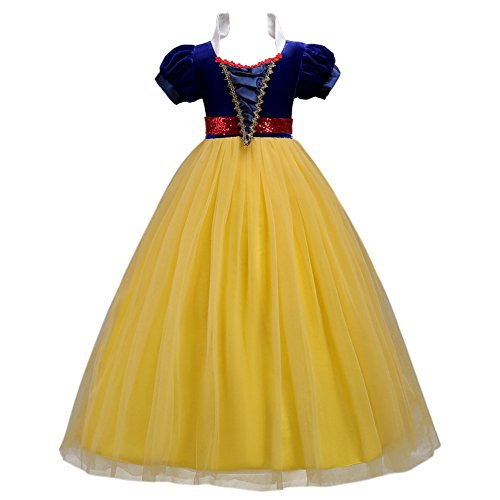 IWEMEK Kids Girls Snow White Princess Fancy Costume Dresses up Cosplay Birthday Party Floor Length Dance Evening Gown, Yellow, ()
