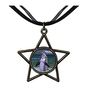 Chicforest Bronze Retro Style Happy Cute Dolphin Five Pointed Star Pendant