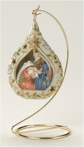 """Pack Of 6 Religious Cloisonne Holy Family Christmas Ornaments 4.5"""""""