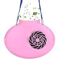 Battery Operated Necklace Fan,Happy-top Mini Portable USB Rechargeable 2200mAh Battery Personal Cooling Fan for Kids, Gift, Camping, Outdoors, Travel, Walking, Church, Hot Flash (Pink)