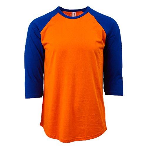 (Rich Cotton Raglan T-Shirts (L, Orange/Royal) )