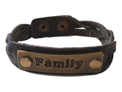 Charming 'Family' Black Leather Expression Snap Bracelet - Jb Vintage Bracelets