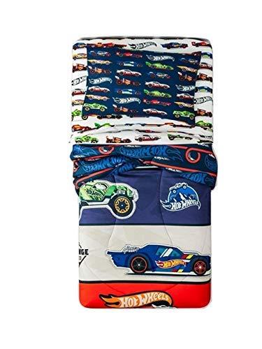 Hot Wheels 4 Piece Bedding Set Comforter + Sheets (Twin Size) ()