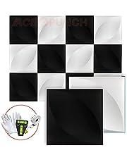 Acepunch 12 stuks gestructureerde PVC waterdichte 3D-wandpanelen voor het interieur van Home Office of Studio
