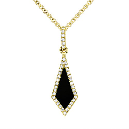 Onyx Gemstone & Accented Diamond Pendant-Necklace Set In 14K Yellow-Gold (0.1 Gemstones Ct)