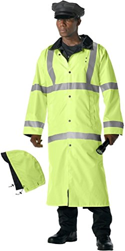 - Safety Green To Black Reflective High-Visibility Reversible Rain Parka with Hood