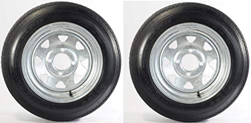 eCustomhitch 2-Pack Trailer Tire On Rim #5233 480-12 4.80-12 LRB 4 Lug Galvanized Spoke
