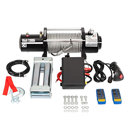 Classic Electric Recovery Winch 12000lbs 12V Truck SUV Car with 2 Durable Wireless Remote Control ()