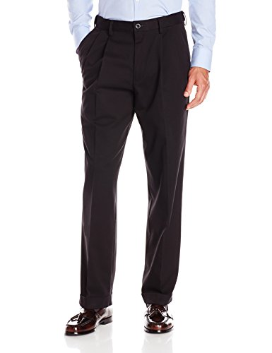 Dockers Men's Relaxed Fit Comfort Khaki Cuffed Pants-Pleated D4, Black Metal (Stretch), 44W x 32L