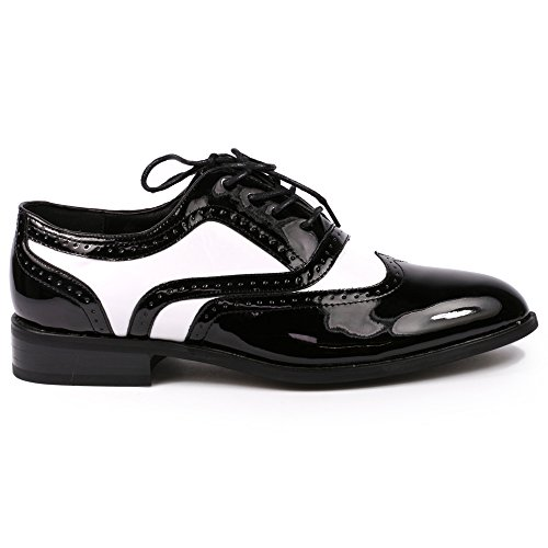 Miko Lotti TPCK01103 Men's Black White Patent Perforated Wing Tip Lace Up Oxford Dress Shoe - http://coolthings.us