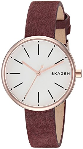 Skagen Women's 'Cny' Quartz Stainless Steel and Leather Casual Watch, Color Red (Model: ()