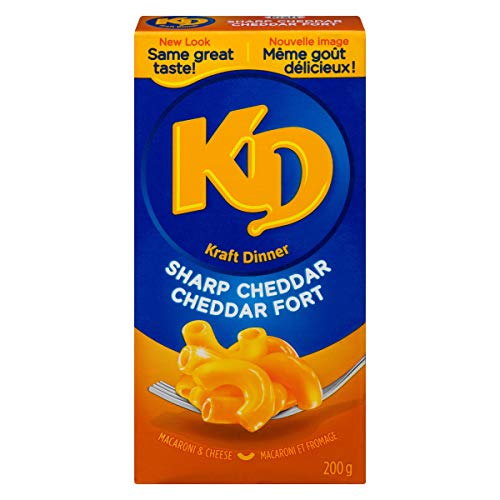 KD Kraft Dinner Sharp Cheddar Macaroni and Cheese, 200 grams/7.05 ounces 24 Pack {Imported from Canada} (Kraft Dinner From Canada)