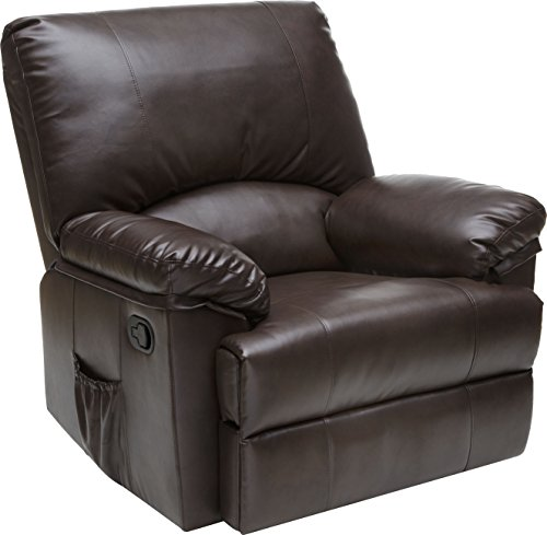 (Relaxzen Rocker Recliner with Heat and Massage, Brown Marbled Leather)