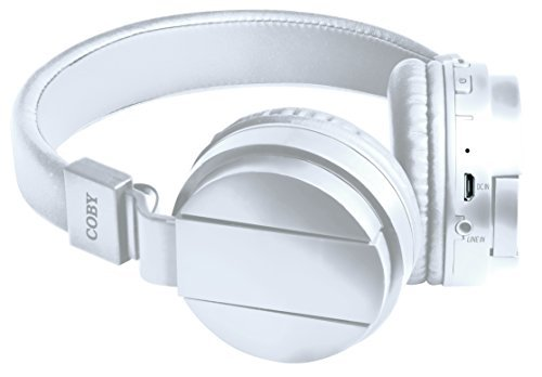 Coby CHBT-608-WHT Flex Bluetooth Headphones with Built-In Mic, White