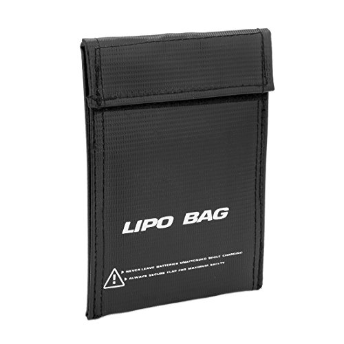 uxcell Lipo Guard Battery Fireproof Explosionproof Safety Charging Pouch Black 150mmx110mm (110 Mm Bag)
