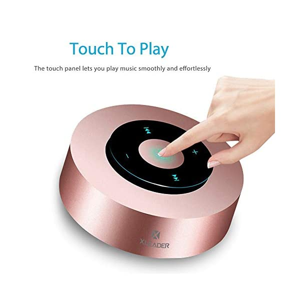 [LED Touch Désign] Enceinte Bluetooth, XLeader Haut-Parleur Bluetooth sans Fil Portable, avec Son HD/12 Heures de Lecture/Bluetooth 4.1/Support Micro SD,pour iphone/ipad/ Tablette/Echo Dot (Or Rose) 2