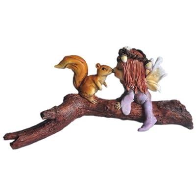 Top Collection Enchanted Story Fairy Garden Little Fairy Kissing Squirrel on Branch Outdoor Statue: Garden & Outdoor