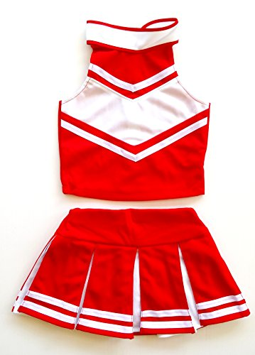 Cheerleaders Uniform Skirts - Little Girls' Cheerleader Cheerleading Outfit Uniform Costume Cosplay Red/White (M / 5-8)