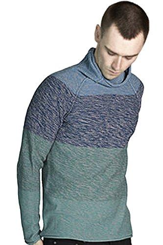 REVOLUTION NOW Men's Marled Color Block Funnel Neck Pullover Sweater ()