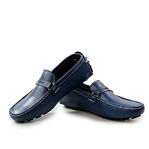 Shoes Loafers Fashion Go Walking Blue Leather Casual Genuine Tour Mens 6nxaq8f