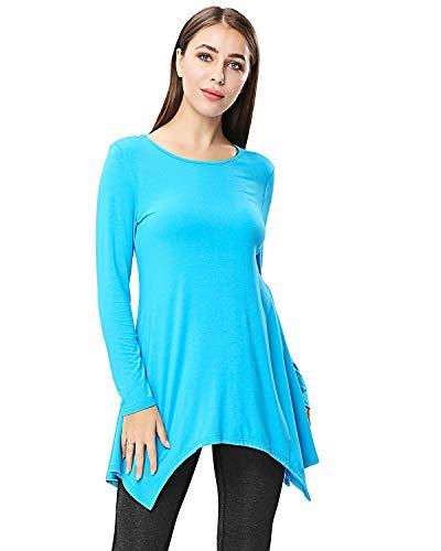 - ENIDMIL Womens Comfy Tunic Tank Top Flattering Long Sleeve Loose Fit Flowy T Shirt Asymmetrical (XL, Lake Blue)