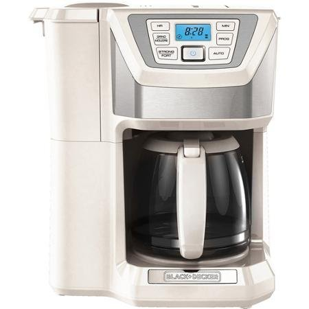 12-Cup, Mill and Brew, Programmable Coffee Maker With Grinder, White by BLACK+DECKER Black & Decker