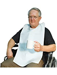 Bargain (Set of 100) Disposable Adult Tie-Back Poly Bibs Protect Clothes from Spills saleoff