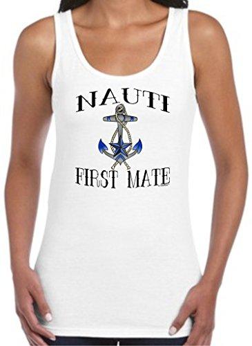 Nauti First Mate Nautical Boating Gifts Juniors Tank Top Small White -
