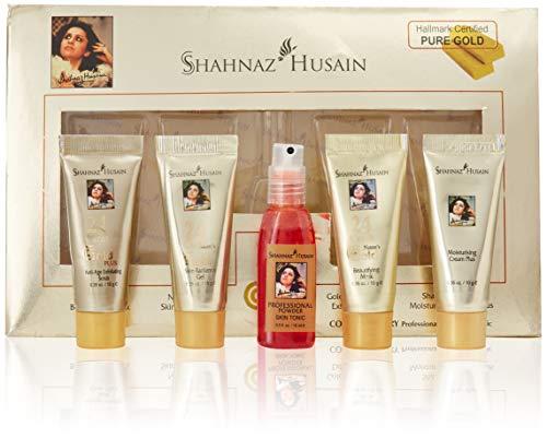 Shahnaz Husain 24 Carat Gold Skin Radiance Timeless Youth Kit with Exfoliating Scrub, Radiance Gel, Moisturizing Cream, and Mask (4 x 10 gm)