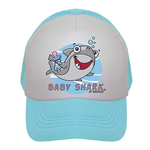 JP DOoDLES Baby Shark on Kids Trucker Hat. Available in Baby, Toddler, and Youth Sizes. (Kiddo (2-5 YRS), Teal)
