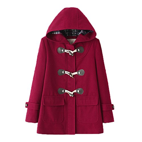 WSLCN Classic Duffle Coat Woolen Fleece Women Trench Coat Hooded Winter Casual Outerwear Hoodie Horn Buttons Peacoat Pockets Thick Coat Snowsuit Burgundy With Coton Lining US 12 (Asian L) -
