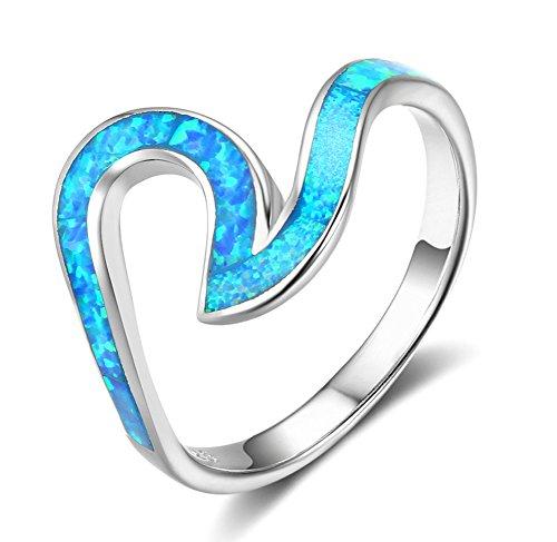 925 Sterling Silver Opal Ring (ACEFEEL Wave Ocean Beach Ring 925 sterling Silver Paved Created Opal Size 7)