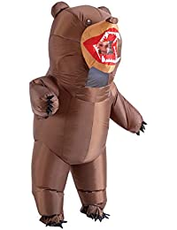 Inflatable Costume Full Body Bear Air Blow-up Deluxe Halloween Costume - Adult One Size Brown