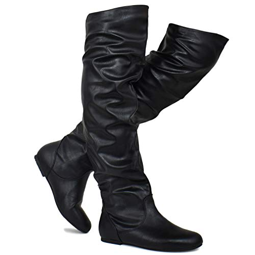 Premier Standard - Women's Slouchy Over Knee High Boots - Comfortable Low Heel Walking Boots, TPS Boots-Iheikciv Black Pu Size 10
