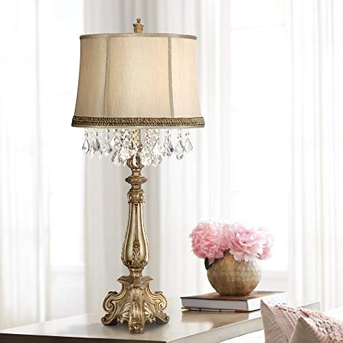 1 Light Console Lamp - Dubois Traditional Console Table Lamp Antique Gold Crystal Beading Black and Gold Wave Trim Shade for Living Room Bedroom Bedside Office - Barnes and Ivy