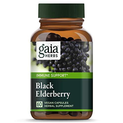 Gaia Herbs Black Elderberry, Vegan Powder Capsules, 60 Count - Made with Organic Sambucus Elderberry Extract for Daily Immune and Antioxidant Support