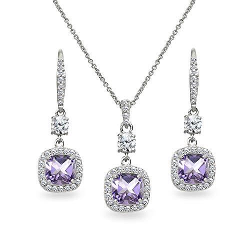 (Sterling Silver Amethyst Cushion-Cut Halo Dangle Leverback Earrings & Pendant Necklace Set)
