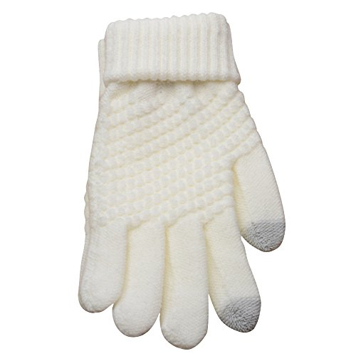 PASATO Knit Wool Soft Man Women Winter Keep Warm Windproof Mittens Gloves For Unisex Anti-Slip Touchscreen Texting Gloves(white,Free Size) -