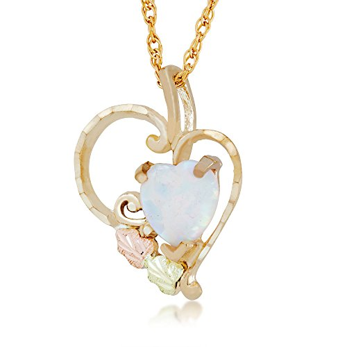 Landstroms Black Hills Gold 10k Heart Shaped Created Opal Pendant Necklace ()