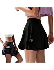 Girls Pleated Tennis Skort, 2 in 1 Elasticated High Waist Skater Skirts with Shorts Women Active Athletic Skirt, Ladies Golf Dress Outfit for Outdoor Summer Cycling